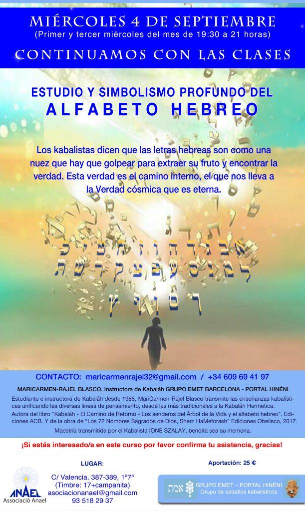 """CLASES """"ESTUDIO Y SIMBOLISMO DEL AFABETO HEBREO"""". Grupo Emet Portal Hinéni."""